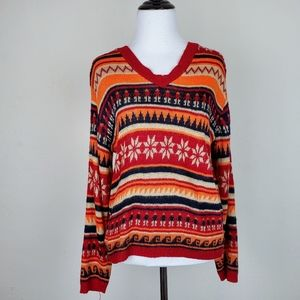 The Great American Sweater Fair Isle Knit V-neck